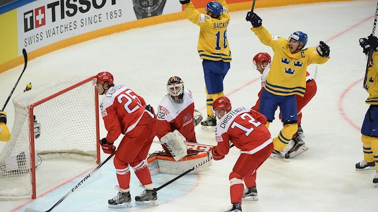 Svenskt jubel mot Danmark i ishockey-VM i Moskva, Ryssland.