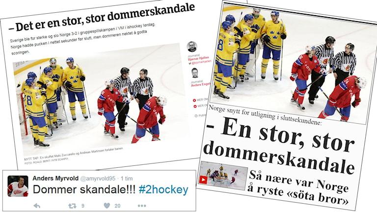 Norska tidningsrubriker efter förlusten mot Sverige.