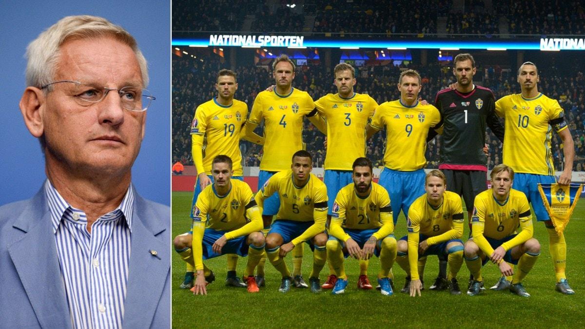 Collage Carl Bildt och fotbollslandslaget