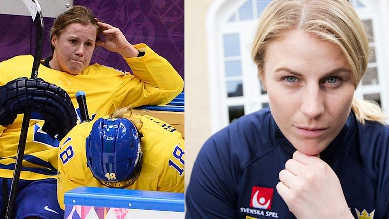 Emma Eliasson och Jenni Asserholt stöttas av sina tränare.