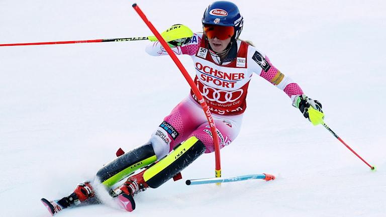 Mikaela Shiffrin i slalombacken i Killington.
