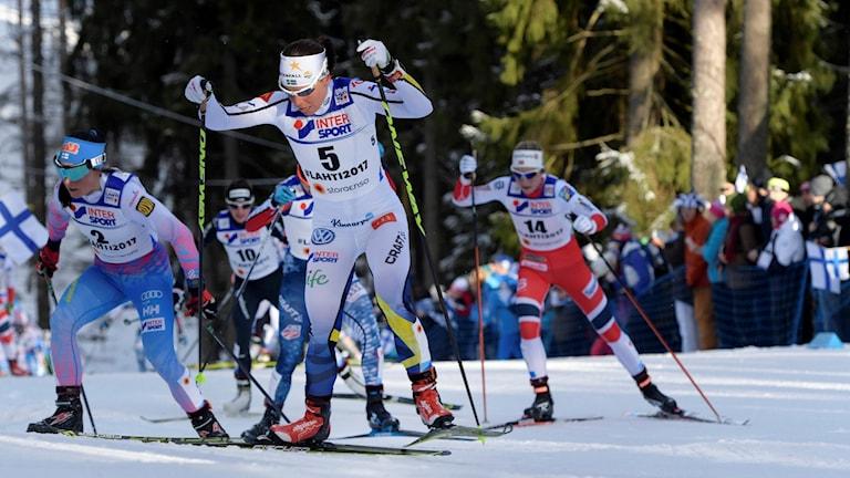 Charlotte Kalla under VM i Lahtis.