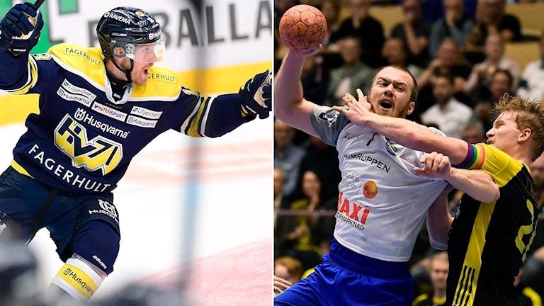 HV71:s Joakim Andersson samt Alingsås Felix Claar.