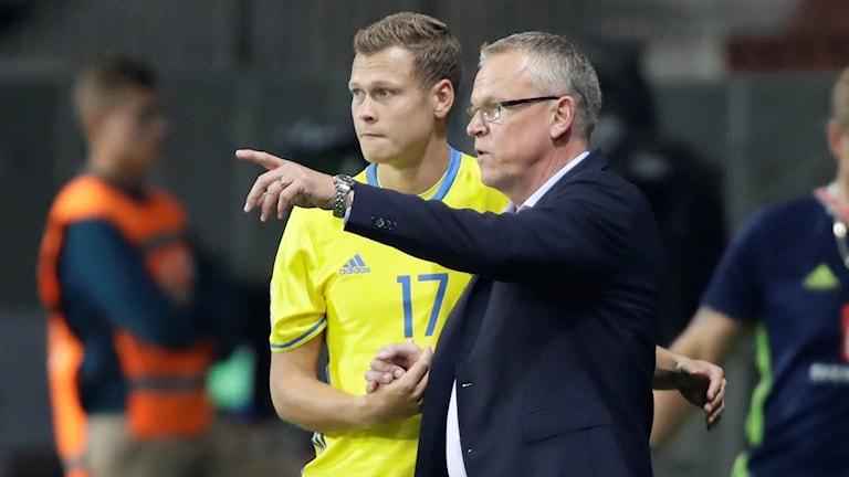 Viktor Claesson och förbundskapten Janne Andersson.