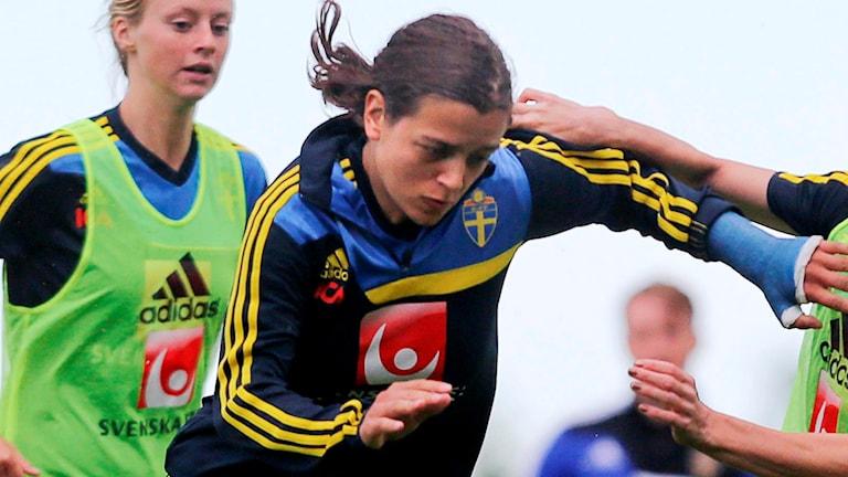 Marija Banusic i landslagströjan.