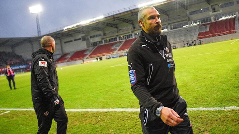 Henrik Larsson efter Helsingborgs allsvenska uttåg.