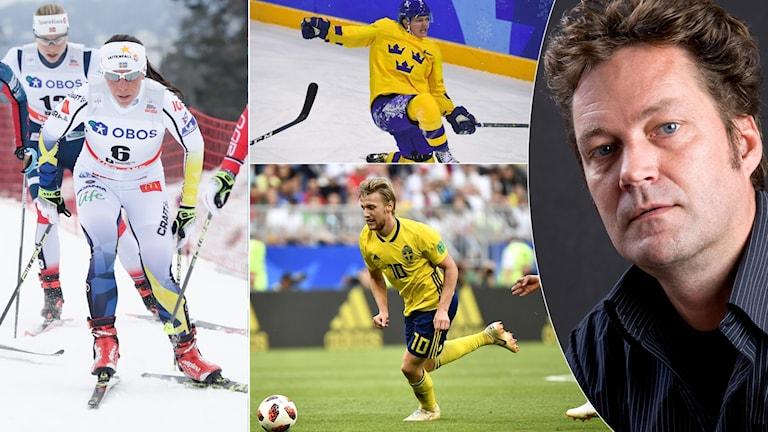 Collage svenska nationalsporter och forskaren Torbjörn Andersson. Foto: TT och privat.