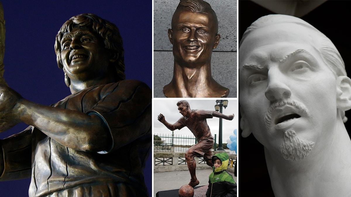 Diego Armando Maradona, Cristiano Ronaldo, Lionel Messi och Zlatan Ibrahimovic har samtliga förevigats.