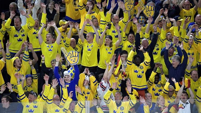 Svenska fans under matchen mot Tyskland i ishockey-VM
