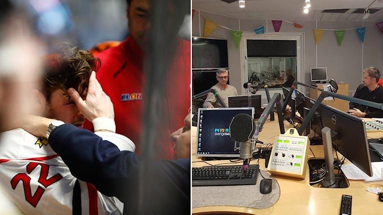 Örebros Jonathan Andersson (t.v.), överläkare Per Hamid Ghatan och reporter Peter Ahnberg.