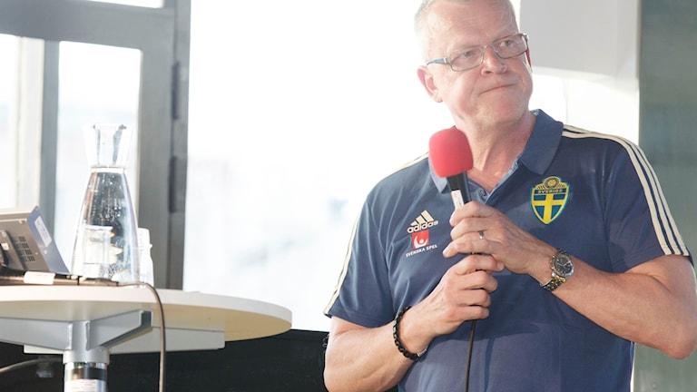 Janne Andersson under Radiosportens VM-kväll på Kulturhuset.