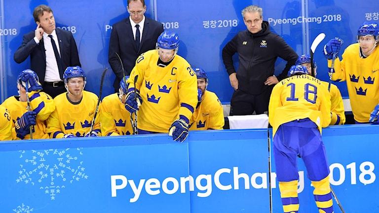 Tre Kronor förlorade OS-kvartsfinalen mot Tyskland. Foto: Jonas Ekströmer/TT.