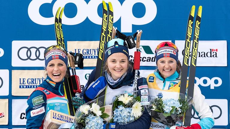 Stina Nilsson vann före Therese Johaug och Ingvild Flugstad Östberg.