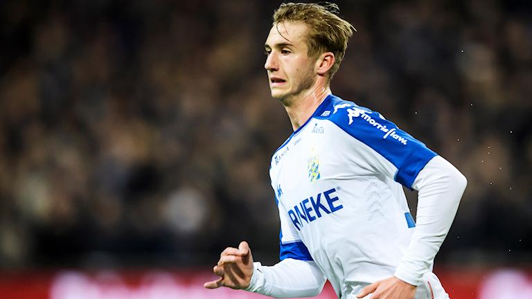 Göteborgs Benjamin Nygren under måndagens fotbollsmatch i Allsvenskan mellan Djurgården IF och IFK Göteborg på Tele2 Arena.