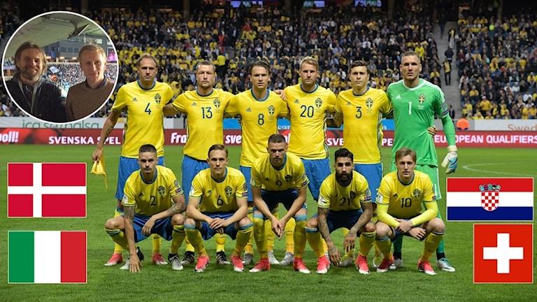 2017 Svenska herrlandslaget i fotboll med flaggor på tänkbara playoffmotståndare. Foto: TT, collage SR