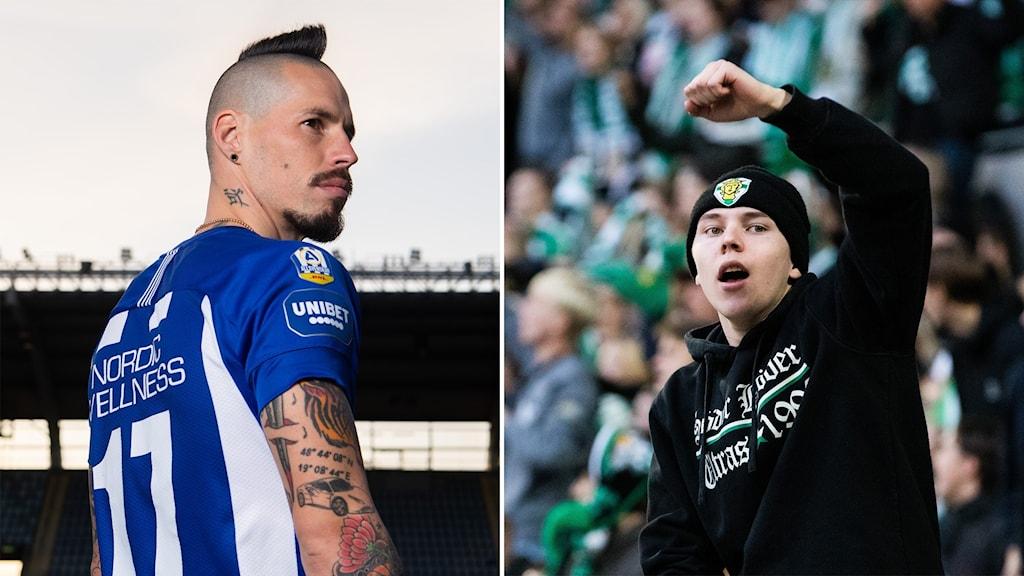 Marek Hamsik och en Hammarby-supporter.