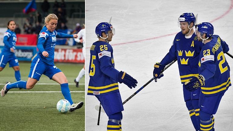 Fotboll och ishockey i kvällens Sportextra.
