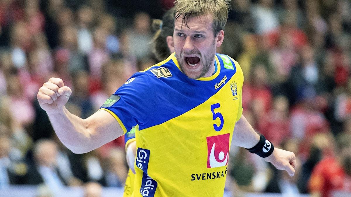 Handbollslandslaget Max Darj. Foto: Henning Bagger/AP