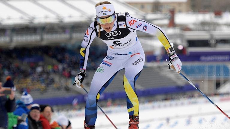 Stina Nilsson under sprintkvalet.