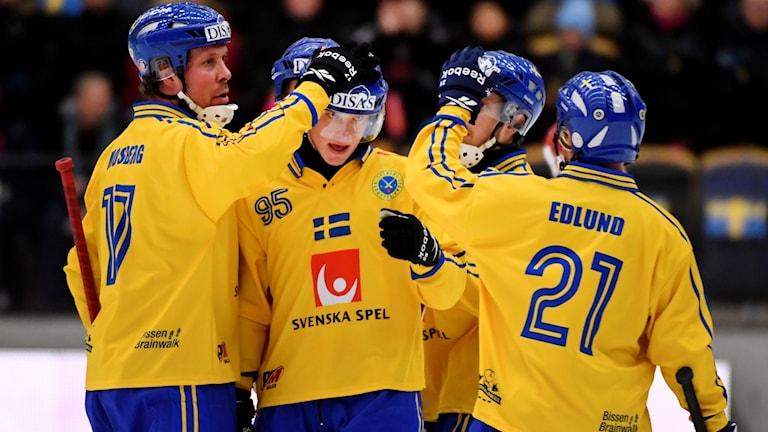 Sveriges Erik Pettersson (95) klappas om efter 0-6 på straff under lördagens semifinal mellan Norge och Sverige vid bandy-VM i Göranssons Arena i Sandviken.