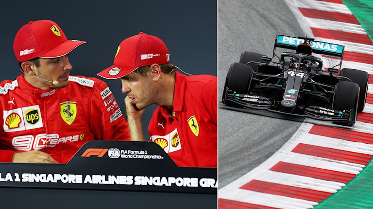 Ferraris Charles Leclerc och Sebastian Vettel och Lewis Hamiltons svarta bil. Foto: Yong Teck Lim och Mark Thompson/TT