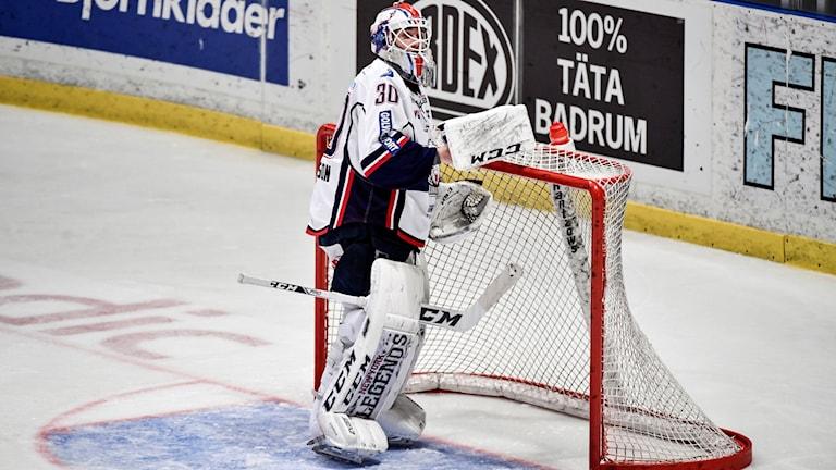 Växhös målvakt Joacim Eriksson byts in under söndagens kvartsfinal 1 i bäst av 7 mellan Djurgårdens IF och Linköping HC i SM-slutspelet i ishockey i Hovet i Stockholm
