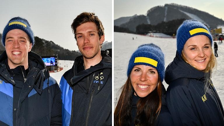 Fyra skidåkare, två män på en bild och två kvinnor på den andra.