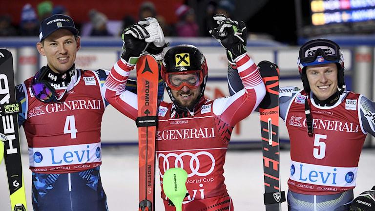 André Myhrer Marcel Hirscher och Henrik Kristoffersen. Foto: MARKKU ULANDER/TT