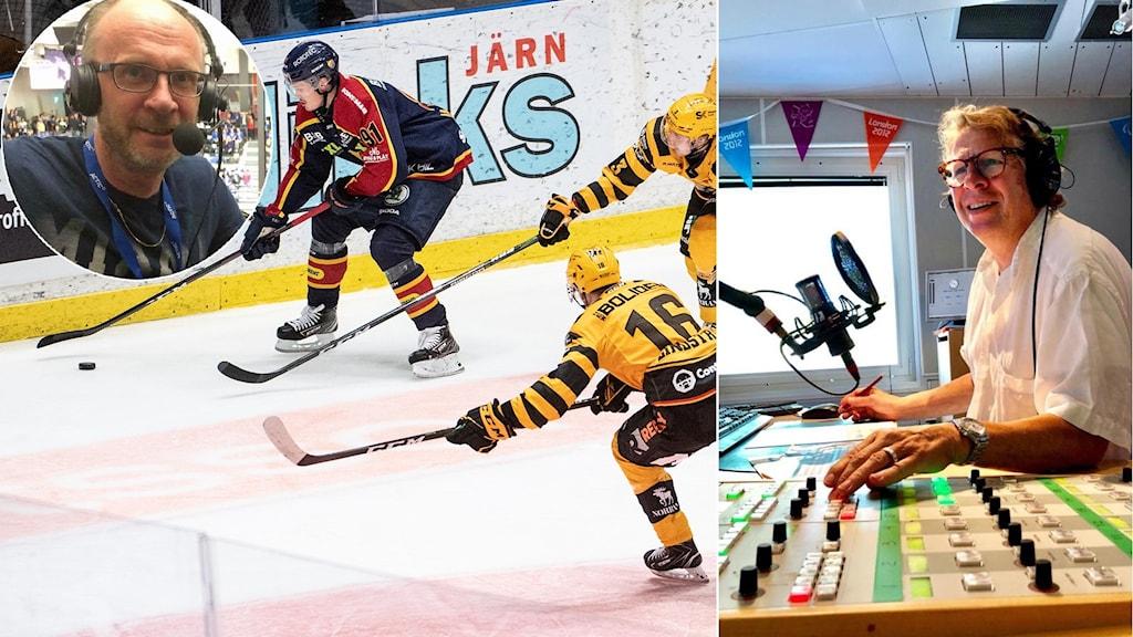 Hockeyreferent Peter Sundkvist och programledare Roger Burman. Foto: SR och TT