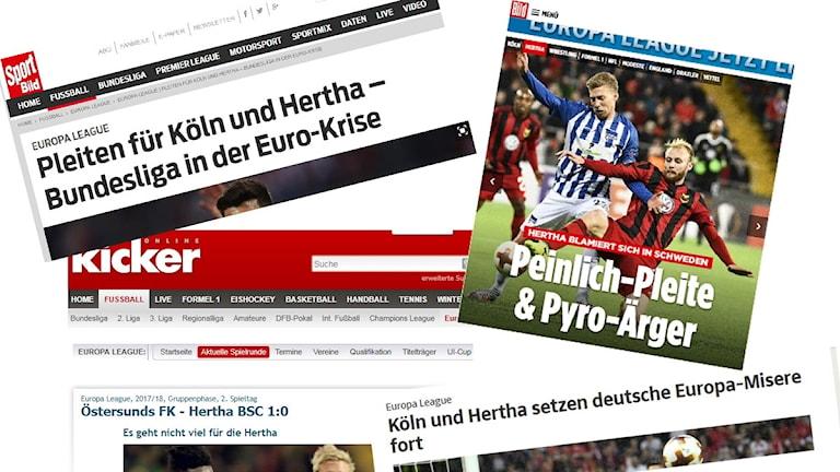 Collage tyska tidningar Hertha Berlin-Östersund