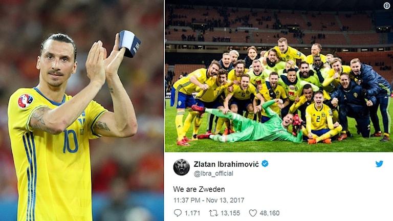 Zlatan gratulerar till VM-platsen