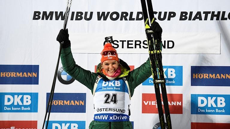Denise Herrmann har bytt från längdskidor till skidskytte.