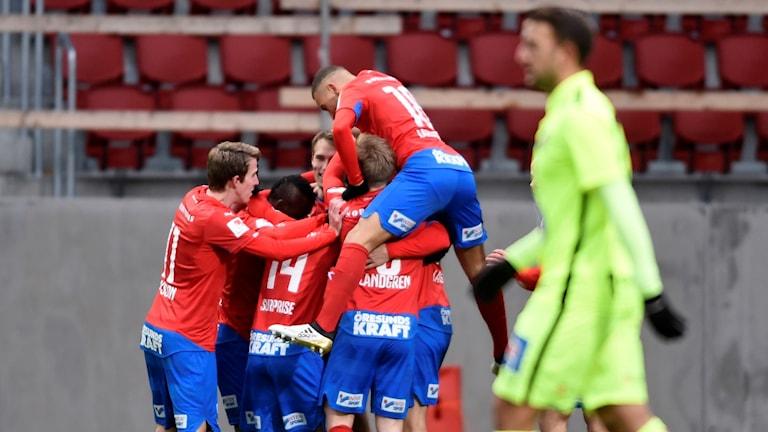 Helsingborgsjubel efter 1-0-målet mot J-Södra.