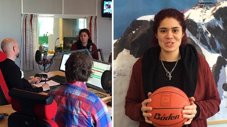 Amanda Zahui gästade Radiosportens studio. Foto: Andreas Lundin/SR