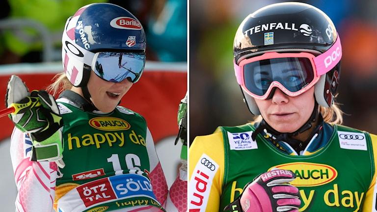 Mikaela Shiffrin (t.v.) och Frida Hansdotter.