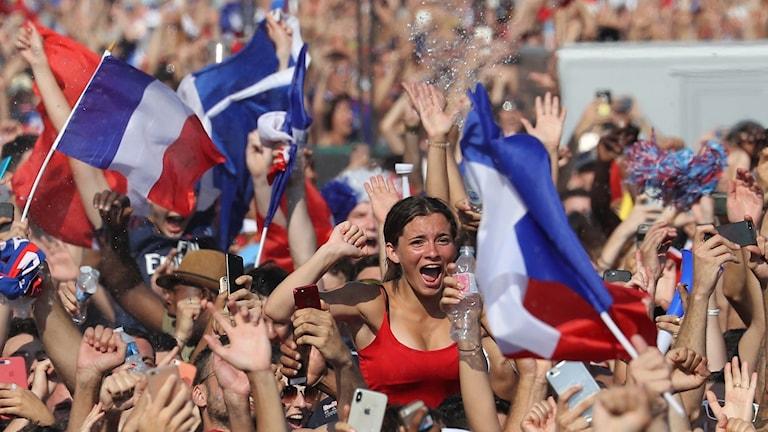 Fransmännen var jublande glada efter VM-guldet.