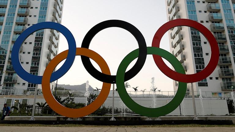 De olympiska ringarna i Rio de Janeiro.