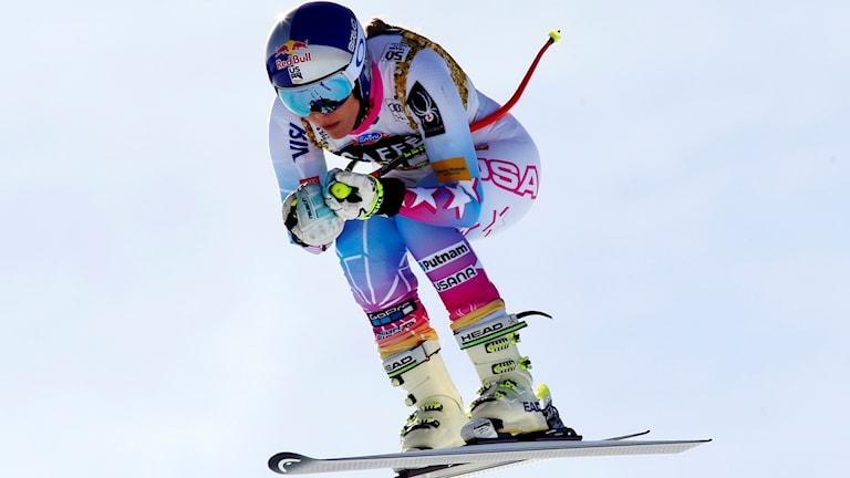 Alpina stjärnan Lindsey Vonn under ett störtlopp.