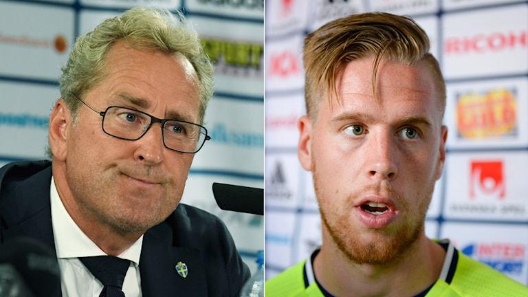 Erik Hamrén (t.v.) och Pontus Jansson.