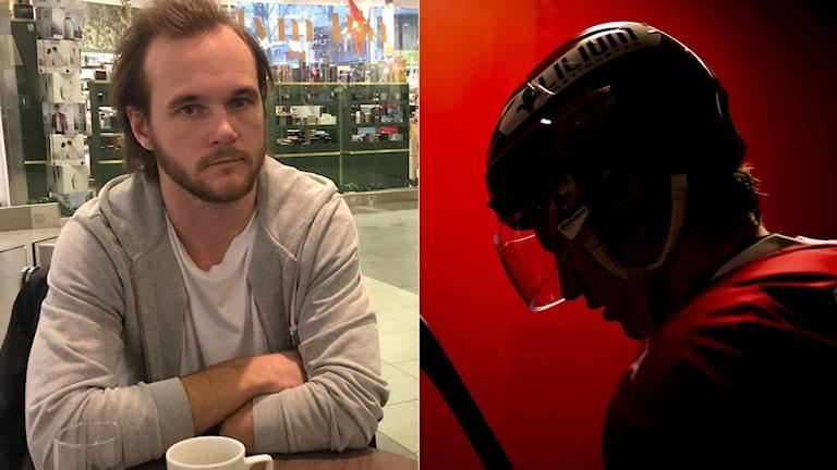 Rasmus Rundgren och ishockeyspelare med visir. Foto: SR och TT