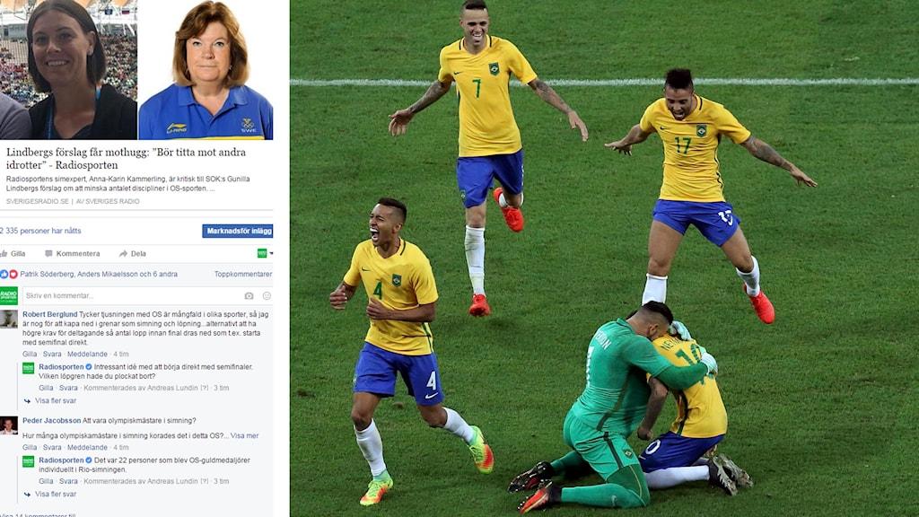 Skärmdump från Facebook och Brasilianskt OS-jubel