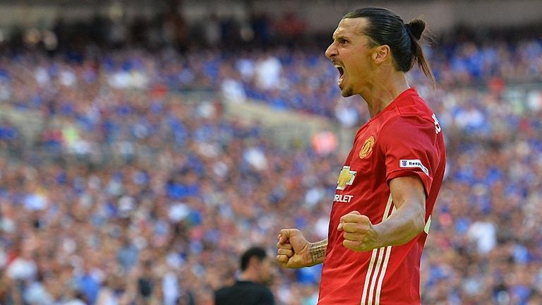 20160807 Zlatan Ibrahimovic firar mål för Manchester United. Foto: Glyn Kirk/AFP Photo