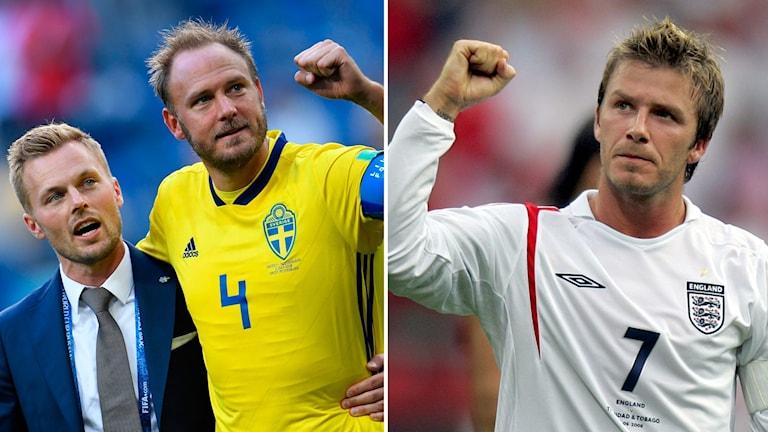 Sebastian Larsson och Andreas Granqvist hyllar David Beckham. Foto: TT