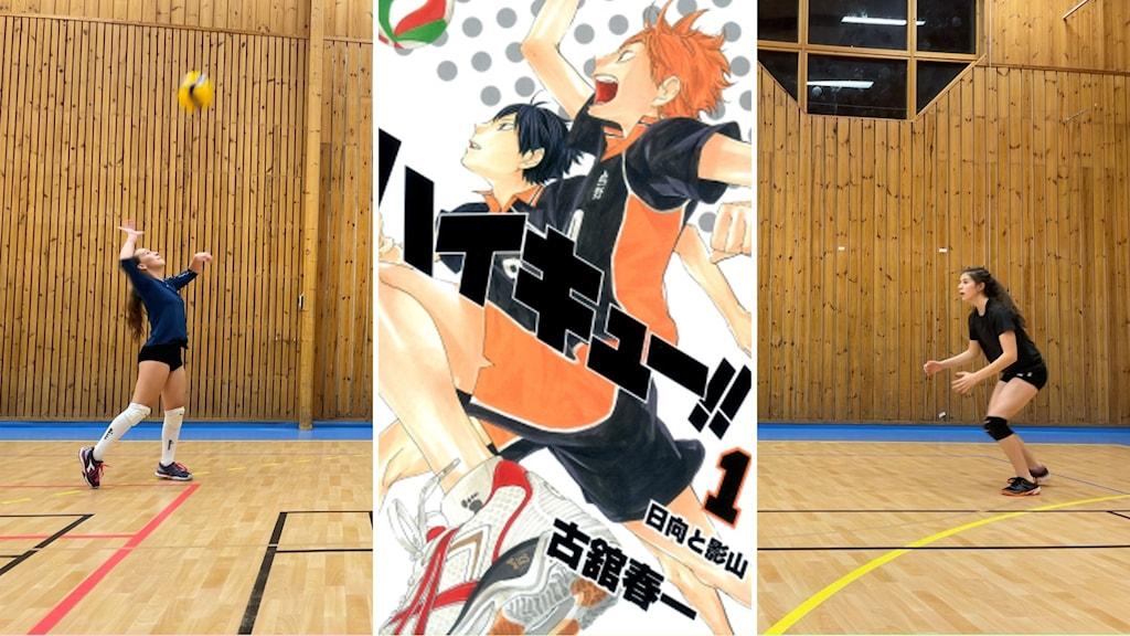 Två tjejer spelar volleyboll samt tecknad mangaserie med kille som spelar volleyboll.