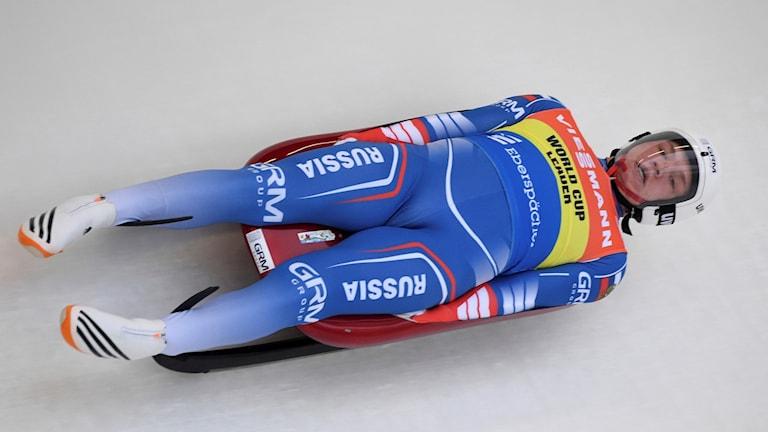 Rysslands Roman Repilov under en världscuptävling i Sigulda 2017.