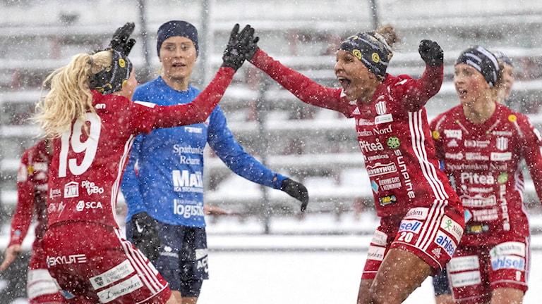 Piteå jublar efter 1–0 mot Eskilstuna.