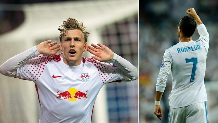 Emil Forsberg och Cristiano Ronaldo.
