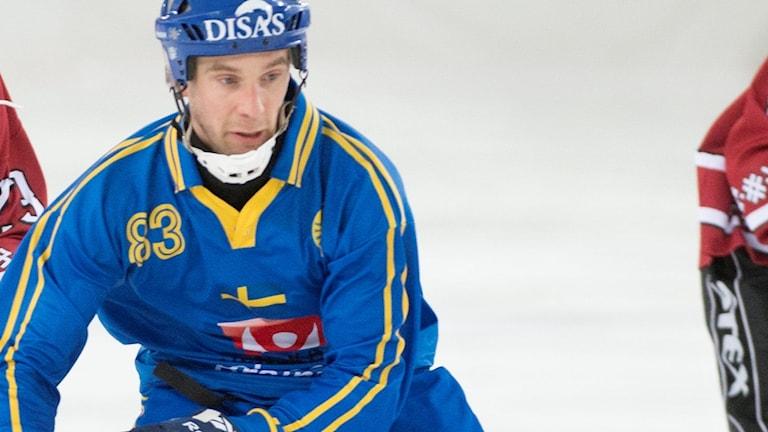 Daniel Andersson under en match i bandy-VM 2015.