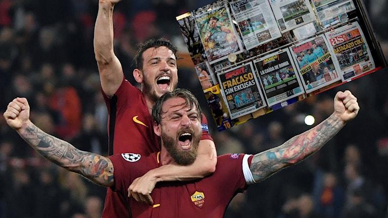 Roma skrällde mot Barcelona.