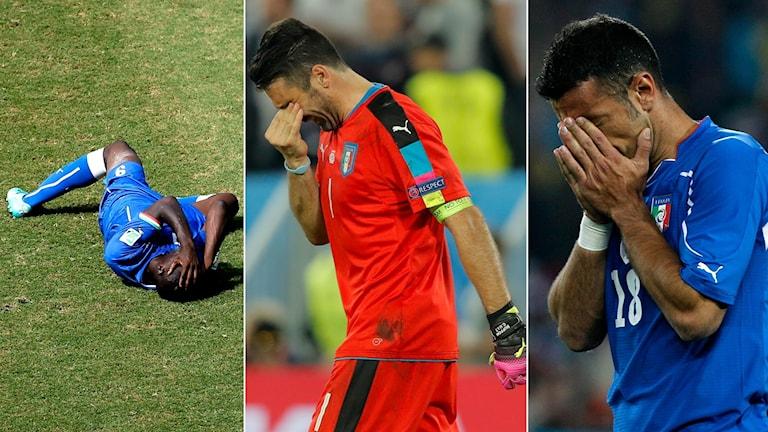 Collage italiensk besvikelse. Foto: TT, collage SR